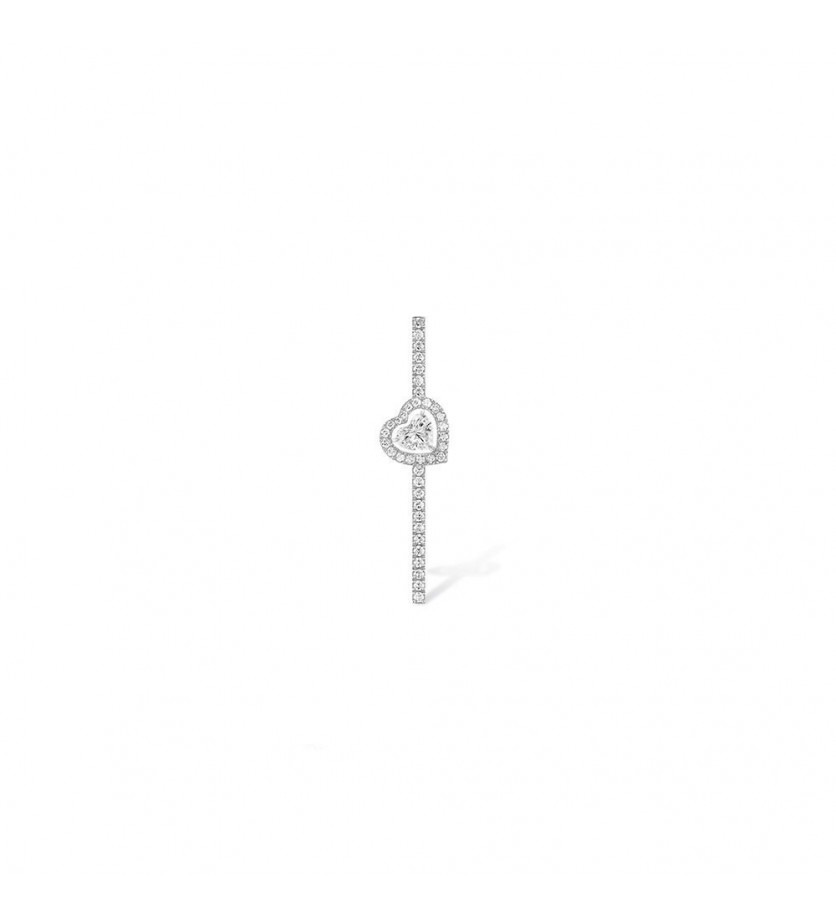 MESSIKA Mono boucle d'oreille Joy or gris diamant coeur 0,15ct diamants