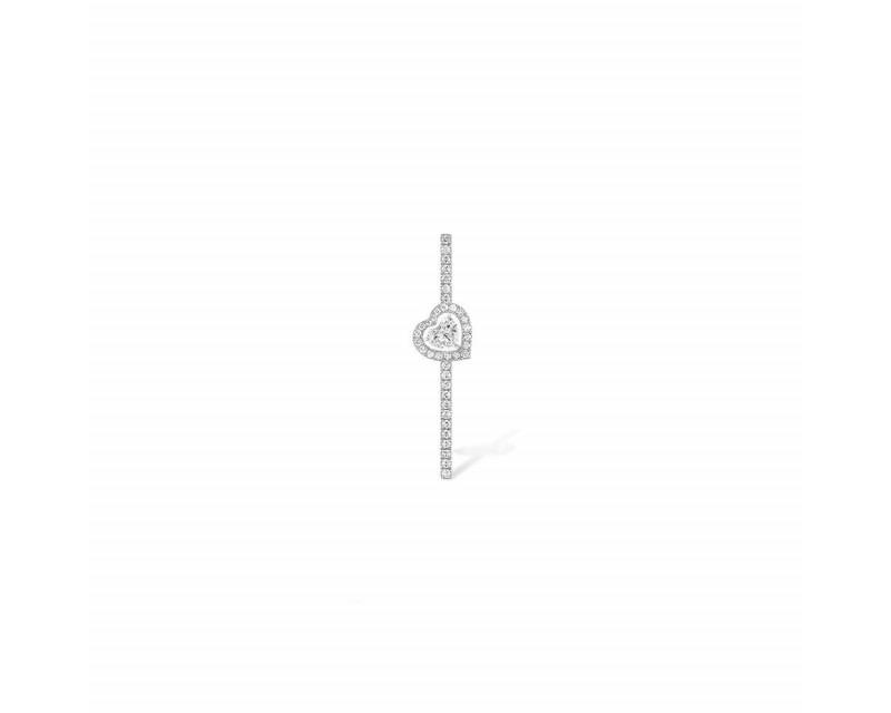 MESSIKA Mono boucle d'oreille Joy or gris diamant coeur 0,15ct diamants