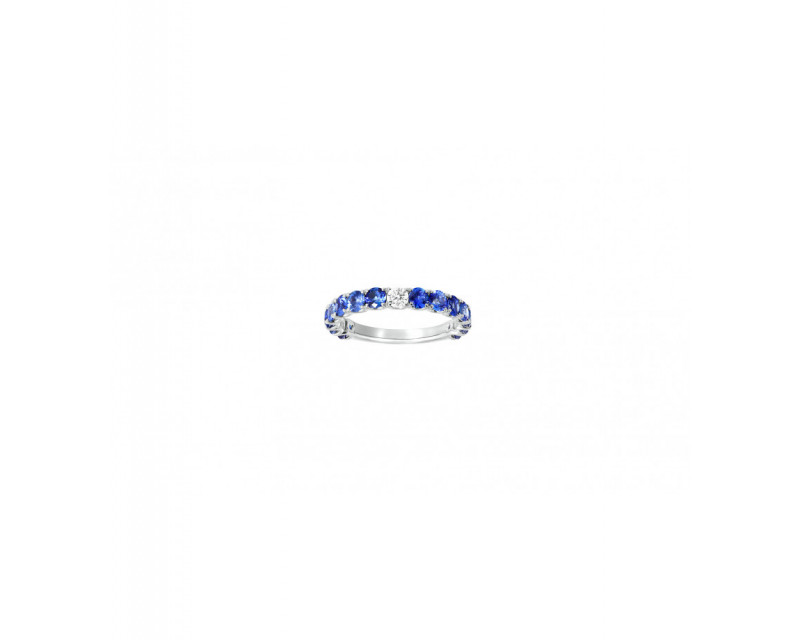 FROJO Alliance or blanc saphirs bleus 1,86ct + diamant 0,10ct GSI