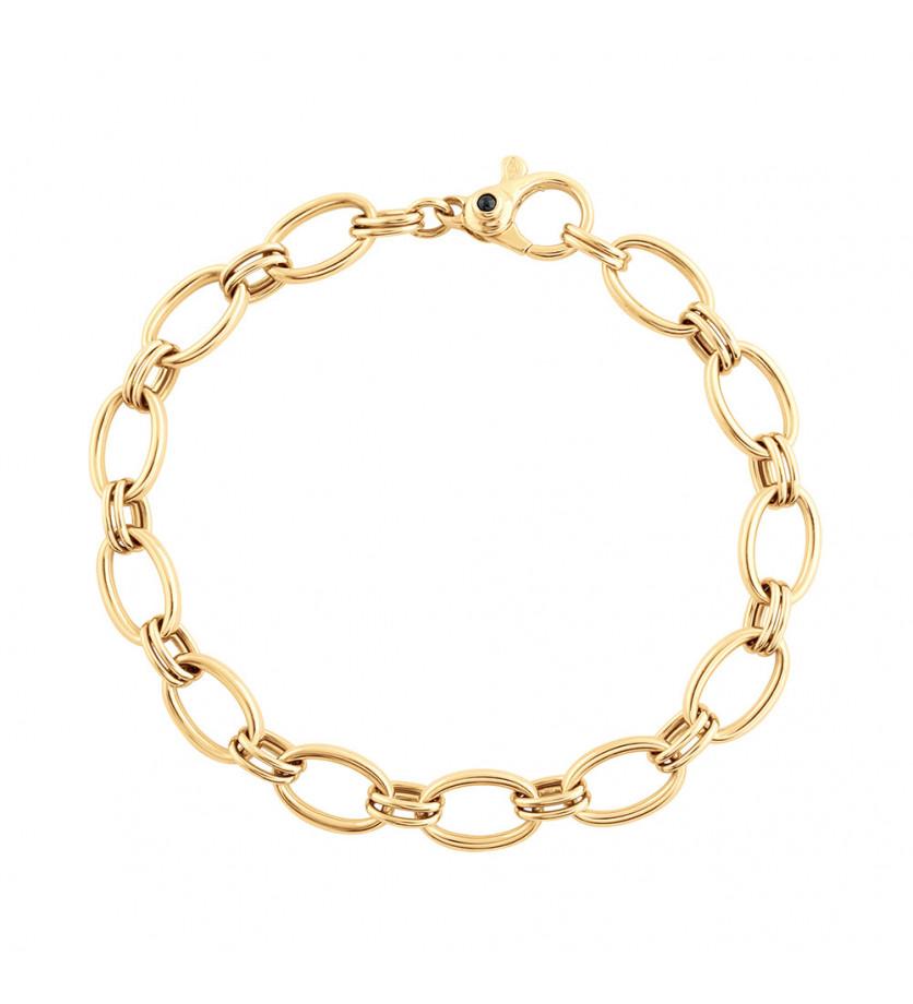 Bracelet mailles ovales 9,5mm or jaune 20cm