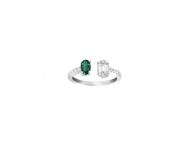 FROJO Bague ouverte or gris émeraude ovale diamants 0,35ct