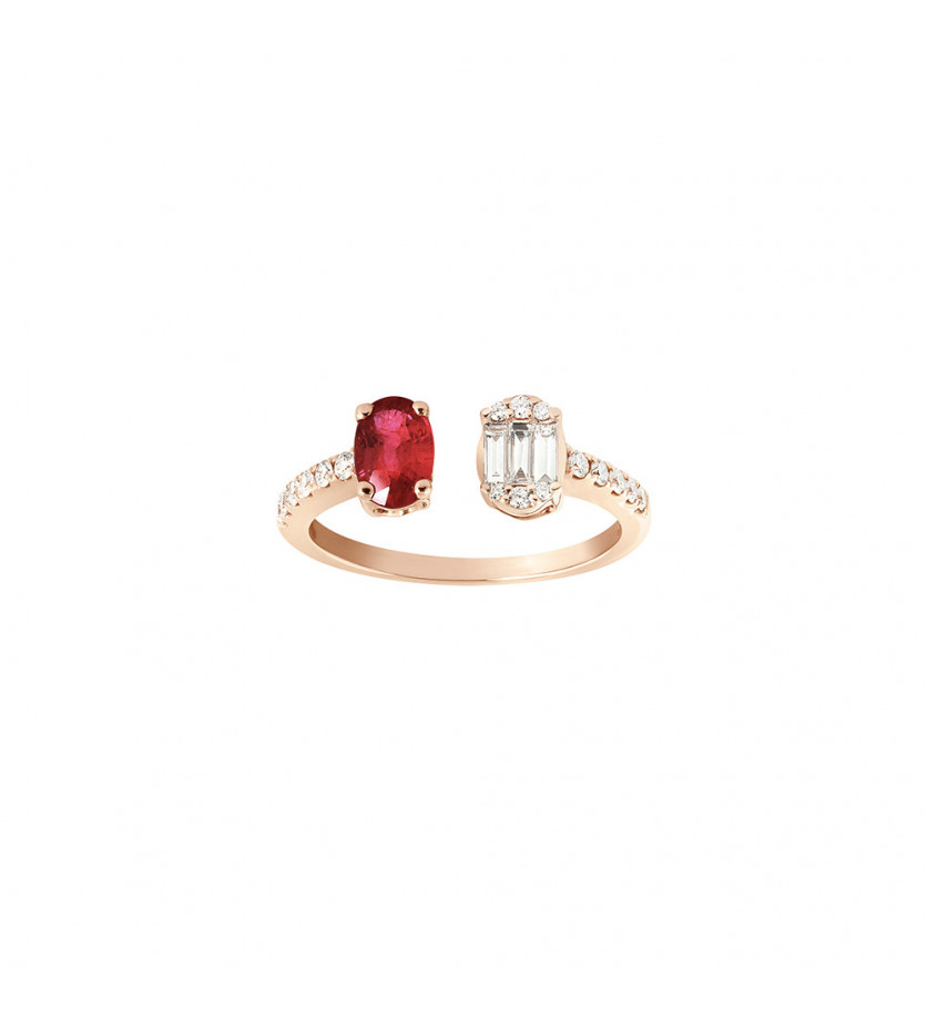 Bague ouverte or rose rubis ovale 0,70ct diamants 0,35ct