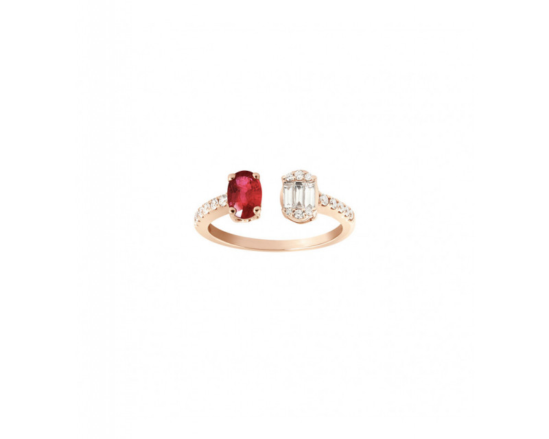 FROJO Bague ouverte or rose rubis ovale 0,70ct diamants 0,35ct