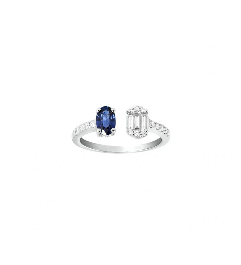 Bague ouverte or gris saphir bleu ovale 0,75ct diamants 0,35ct