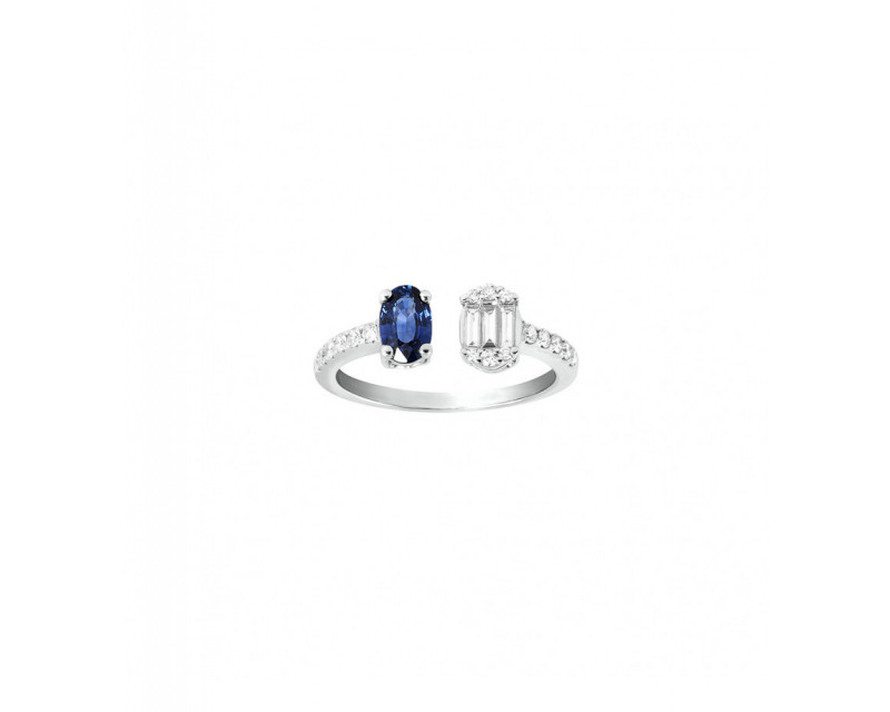 FROJO Bague ouverte or gris saphir bleu ovale 0,75ct diamants 0,35ct