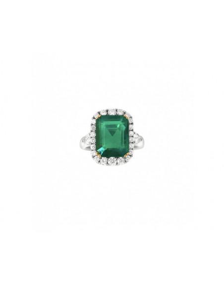 Bague or gris émeraude 7.18ct entourage diamants