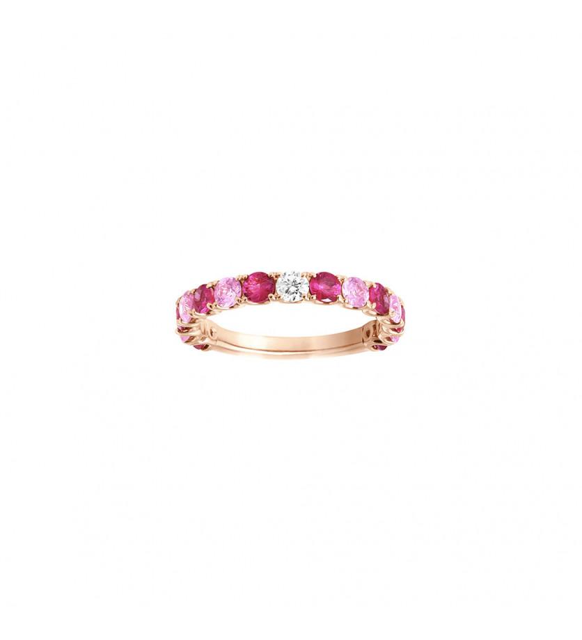 Alliance or rose saphirs roses 0,75ct + rubis 0,90ct et diamant 0,10ct GSI