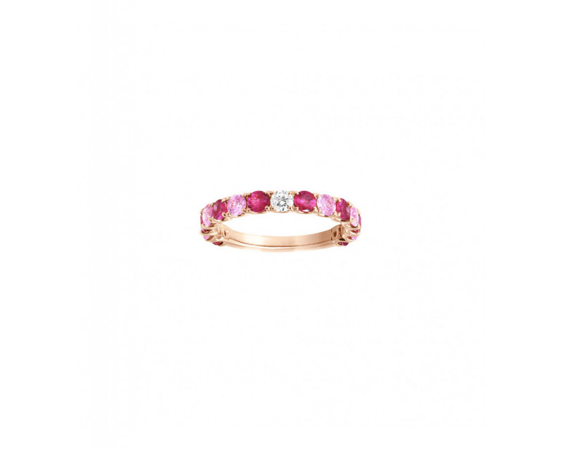 FROJO Alliance or rose saphirs roses 0,70ct + rubis 1ct et diamant 0,10ct GSI