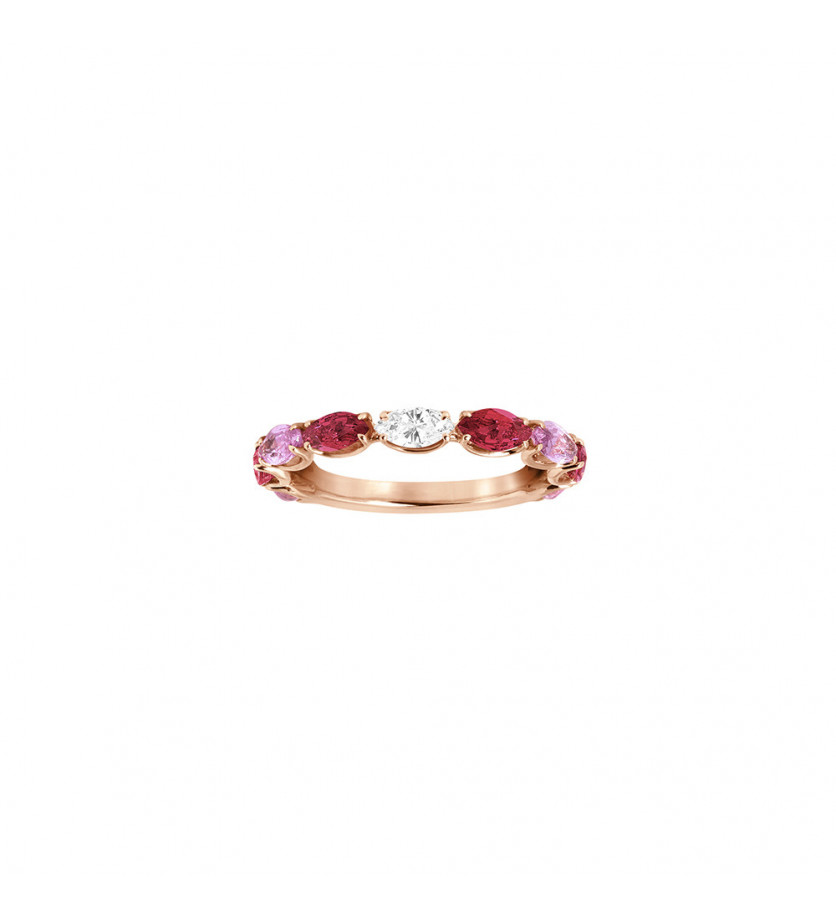 Alliance or rose saphirs roses navettes 0,80ct rubis navettes 0,77ct et diamant navette 0,12ct