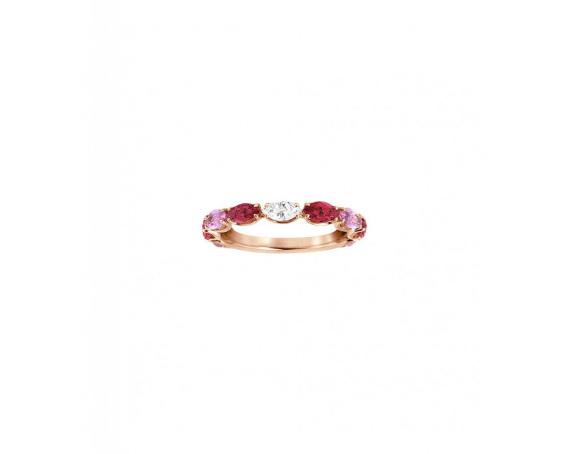 FROJO Alliance or rose saphirs roses navettes 0,80ct rubis navettes 0,77ct et diamant navette 0,12