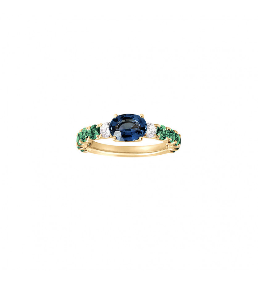 Bague or jaune saphir bleu ovale 0,93ct émeraudes 1,10ct diamants 0,20ct