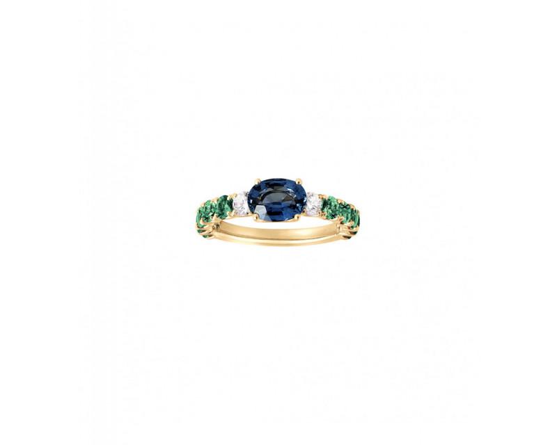 FROJO Bague or jaune saphir bleu ovale 0,93ct émeraudes 1,10ct diamants 0,20ct