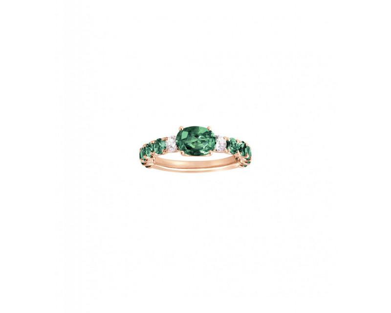 FROJO Bague or rose émeraude ovale 1,10ct + émeraudes 0,65ct + diamants 0,10ct GSI