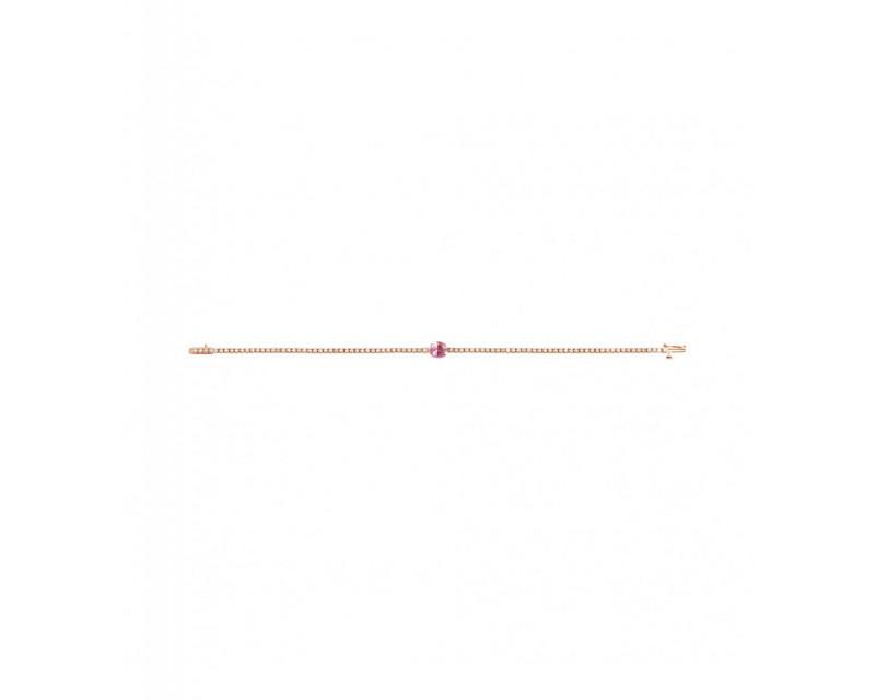 Bracelet rivière or rose diamants avec un saphir rose taille ovale