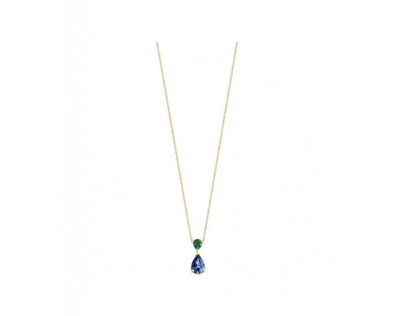 FROJO Pendentif or jaune saphir bleu poire 0,74ct émeraude poire 0,12ct sur chaîne or jaune