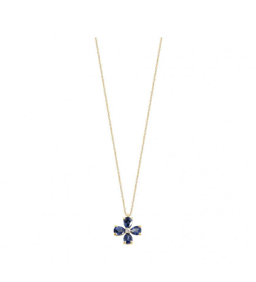 Pendentif or gris saphir bleu poires 0,70ct diamant 0,02ct GSI