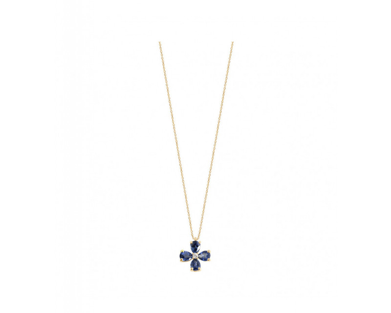 FROJO Pendentif or gris saphir bleu poires 0,70ct diamant 0,02ct GSI