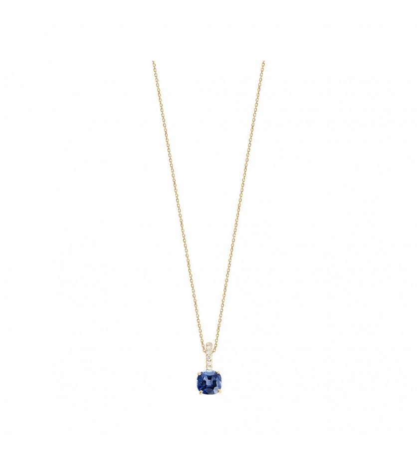 Pendentif or jaune saphir bleu coussin 0,85ct bélière diamants 0,06ct chaine or jaune