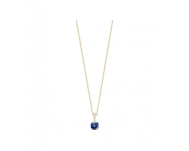 FROJO Pendentif or jaune saphir bleu coussin 0,85ct bélière diamants 0,06ct chaine or jaune