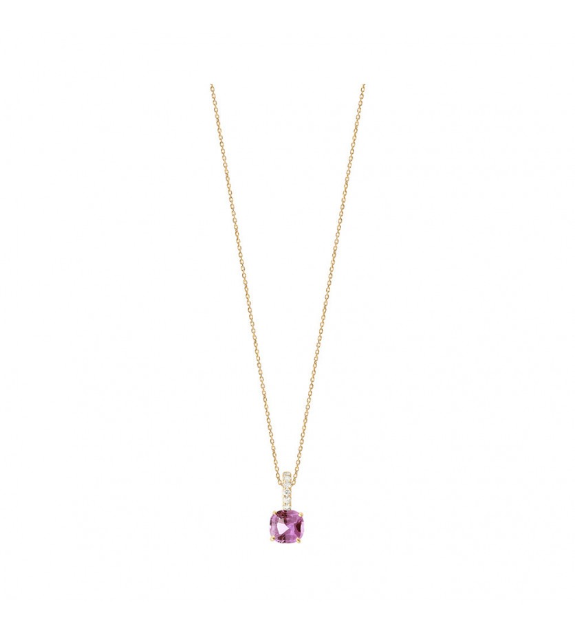 FROJO Pendentif or rose saphir rose coussin 0,77ct bélière diamants 0,06ct GSI chaine or rose