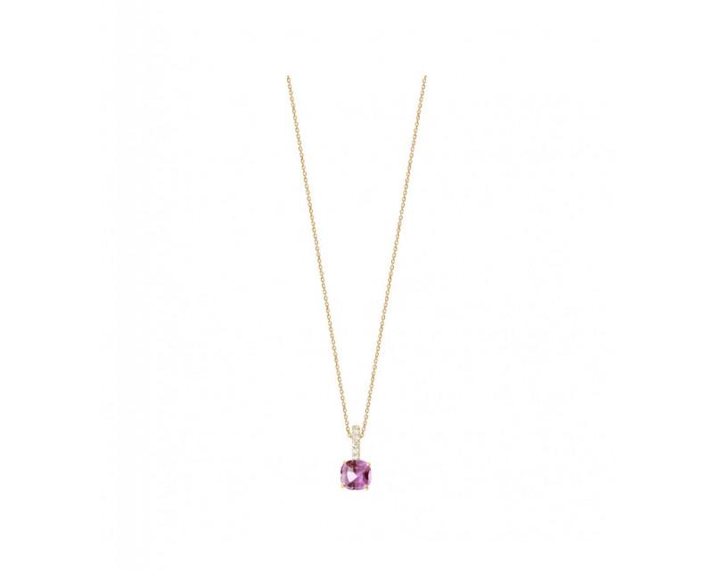 Pendentif or rose saphir rose coussin 0,77ct bélière diamants 0,06ct GSI chaine or rose