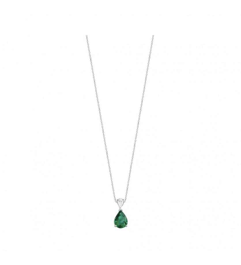 FROJO Pendentif or gris Emeraude Colombienne poire 1ct + diamant poire 0,15ct FVS