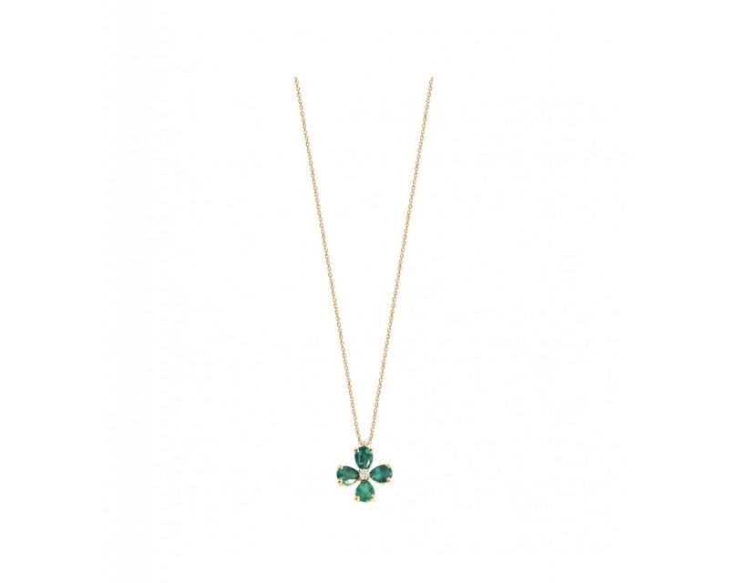 FROJO Pendentif or jaune 4 émeraudes poires 0,56ct diamant 0,02ct GSI