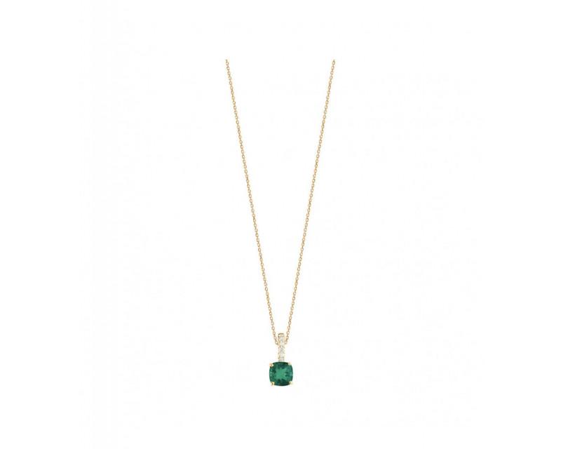 Pendentif or rose émeraude taille coussin diamants chaîne or jaune