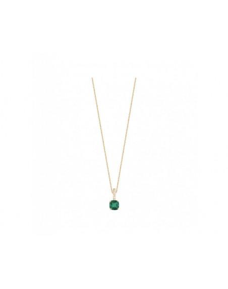 Pendentif or rose émeraude coussin 0,76ct bélière diamants or rose sur chaine 60cm