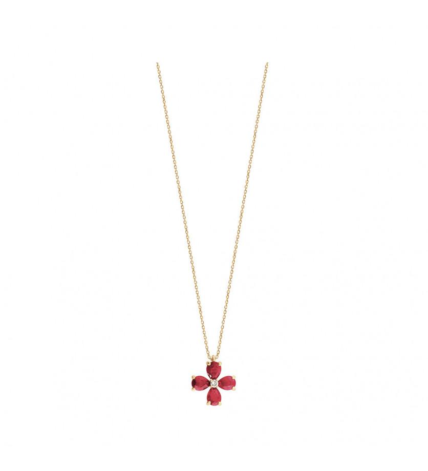 Pendentif 4 rubis taille poire 0.78 ct et un diamant 0.02ct sur une chaîne en or rose
