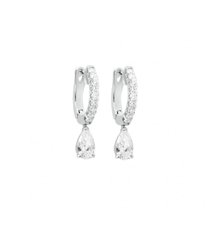 FROJO Boucles d'oreille or gris diamants 0,60ct GSI
