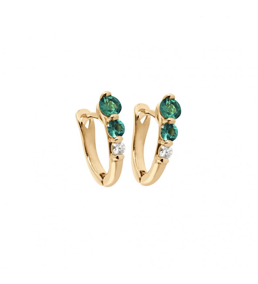 Boucles d'oreille or rose émeraudes 0,42ct en chute et diamant 0,10ct GSI