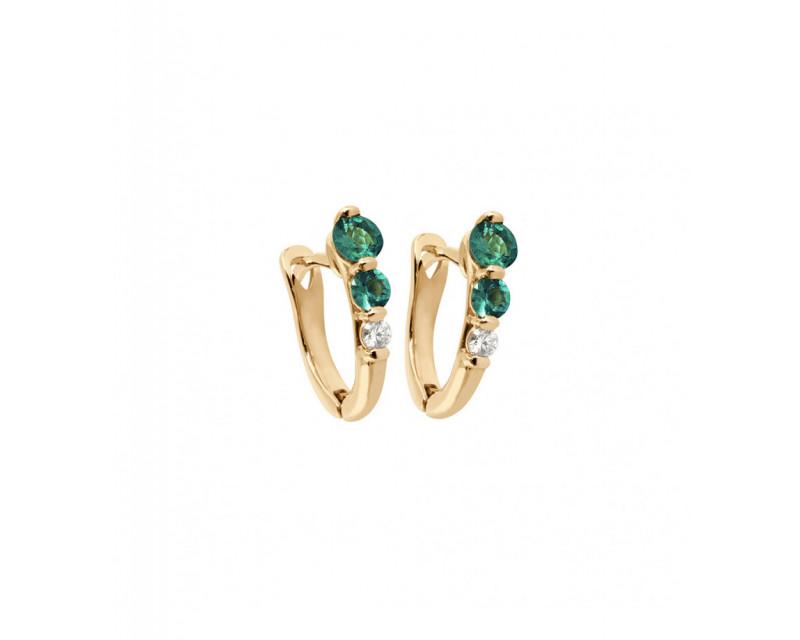 Boucles d'oreille or rose émeraude diamants
