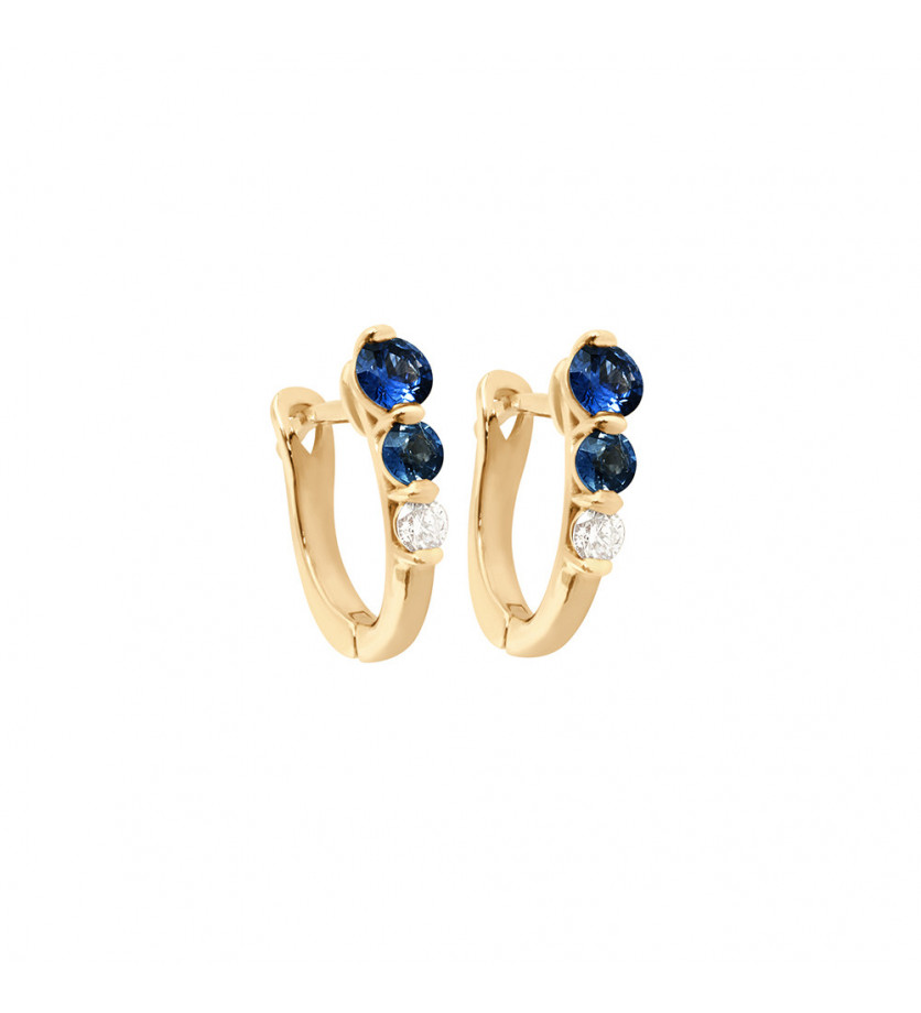 Boucles d'oreille or rose saphir bleu 0,50ct diamant 0,10ct