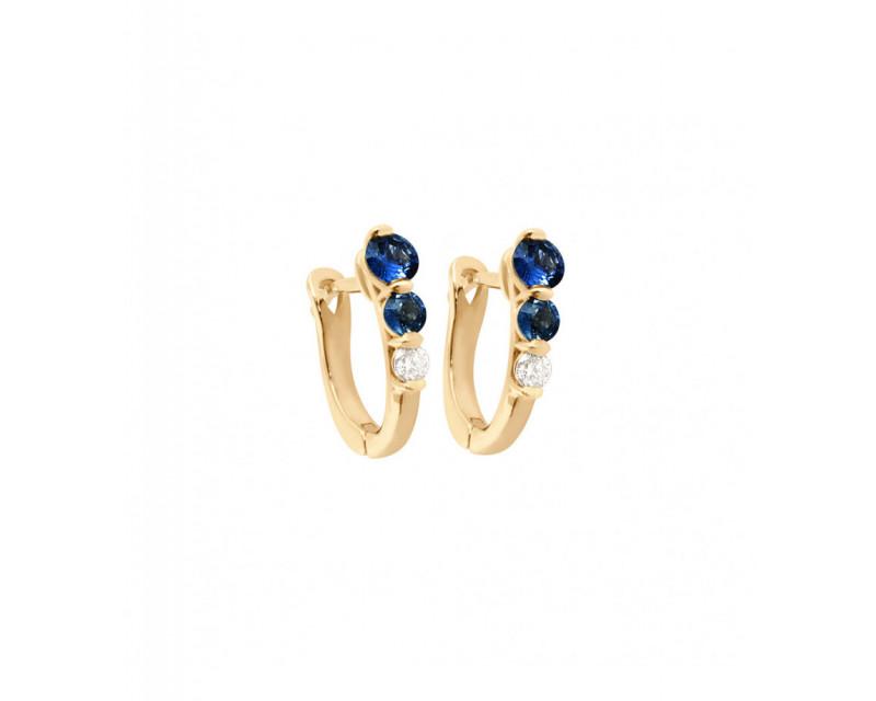FROJO Boucles d'oreille or rose saphir bleu 0,50ct diamant 0,10ct