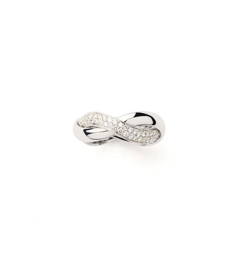 Bague Tresse MM or blanc diamants