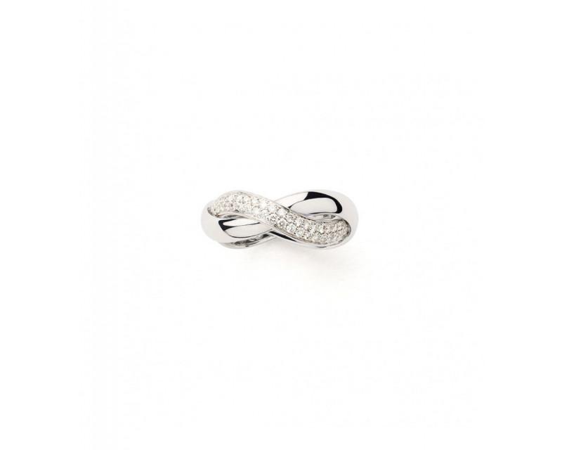 POIRAY Bague Tresse moyen modèle or blanc diamants