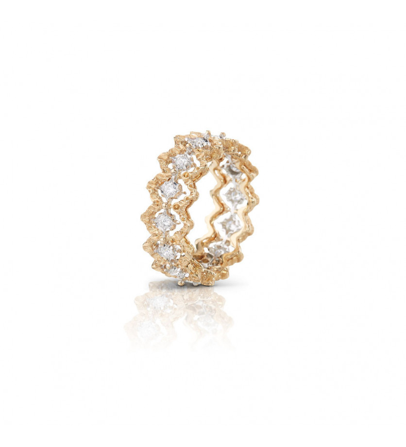 BUCCELLATI Eternelle Rombi or gris or jaune diamants