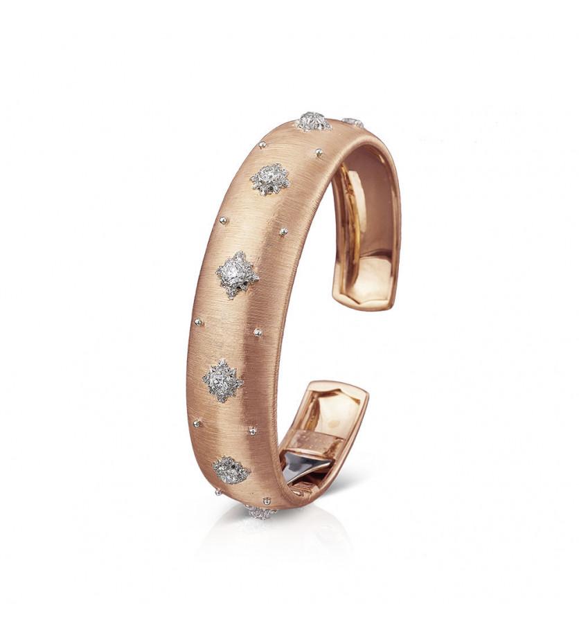 Bracelet Cuff Macri 15mm or rose or gris diamants