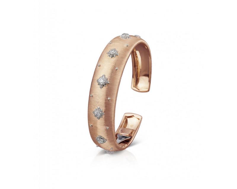 BUCCELLATI Bracelet Cuff Macri 15mm or rose or gris diamants
