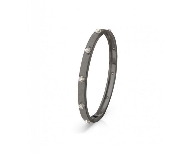 Bracelet Macri 5mm or gris DLC diamants