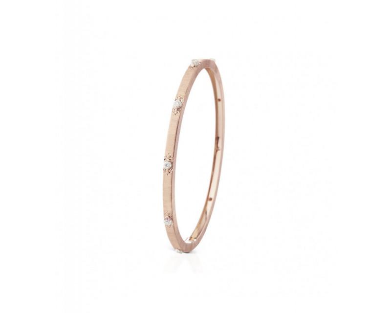 BUCCELLATI Bracelet Macri 3mm or rose or gris diamants