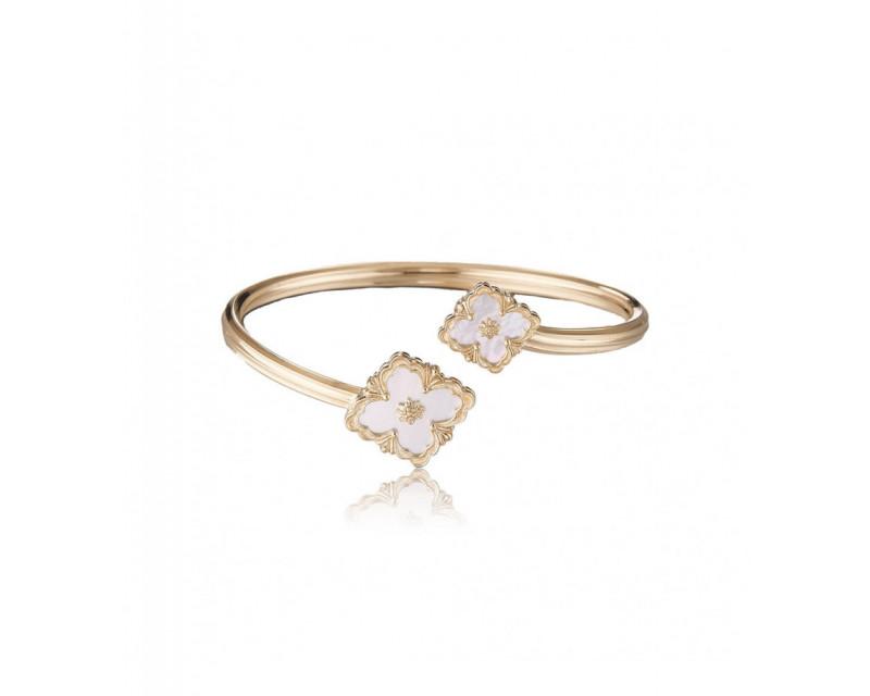 Bracelet jonc ouvrant Opera or jaune et nacre blanche
