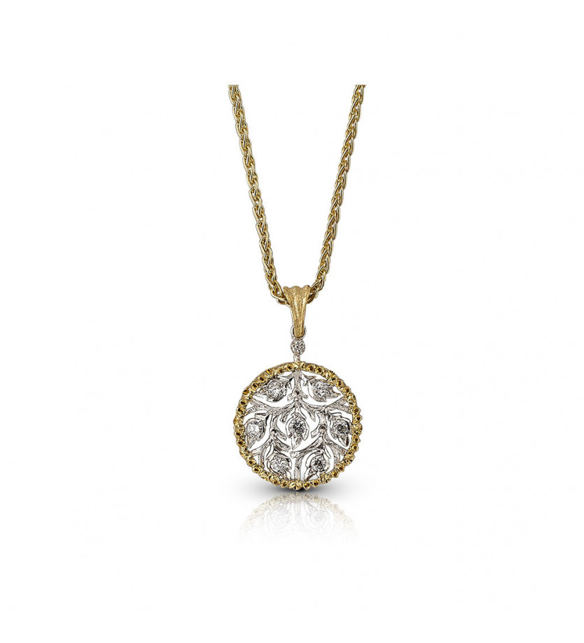 BUCCELLATI Collier Ramage or jaune or gris diamants