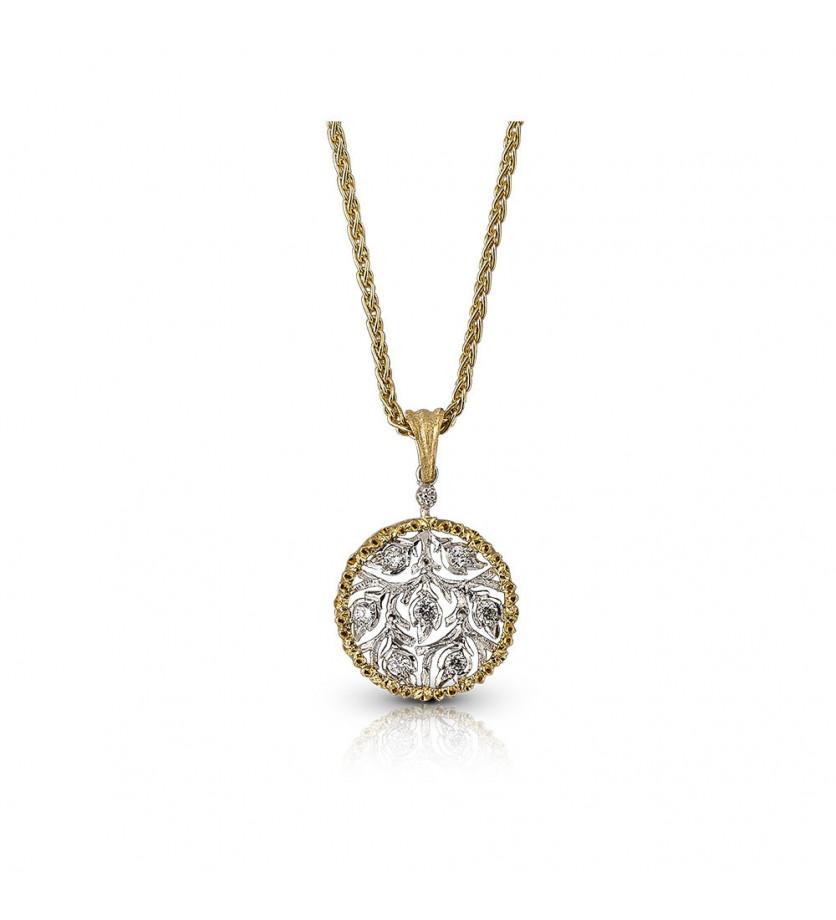 Collier Ramage or jaune or gris diamants