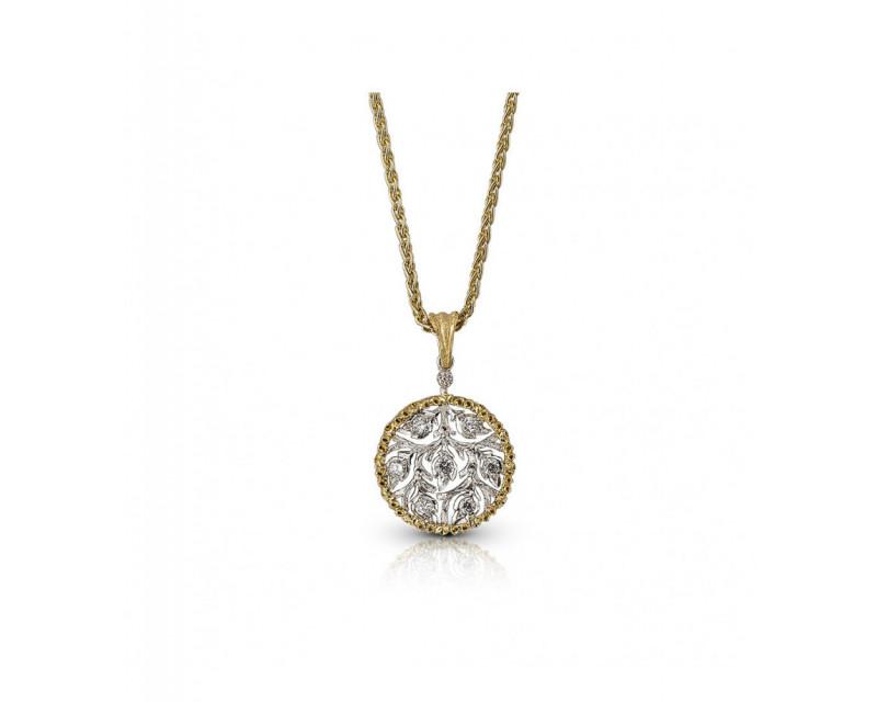 BUCCELLATI Collier Ramage or jaune or gris diamants
