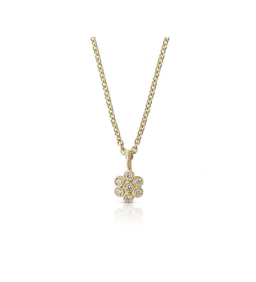 BUCCELLATI Pendentif Hawaii or jaune diamants motif fleur