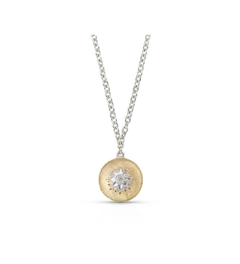 BUCCELLATI Pendentif Macri petit modèle pastille en or jaune avec un diamant, sur chaîne or gris, lo