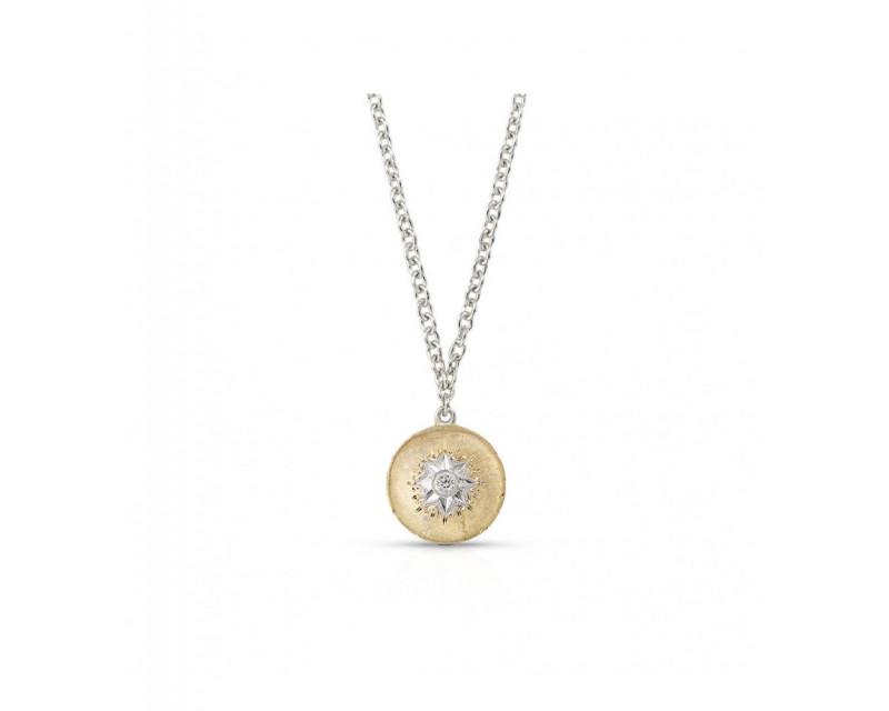 Pendentif Macri petit modèle pastille en or jaune avec un diamant, sur chaîne or gris, longueur ajus
