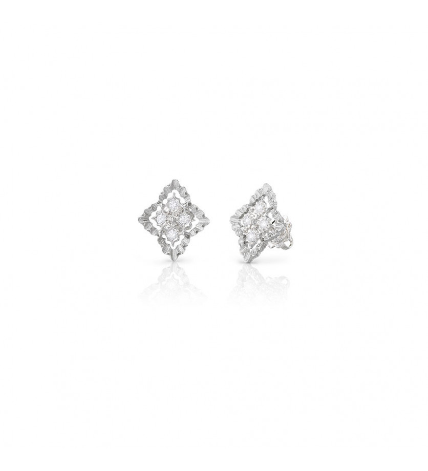 BUCCELLATI Boucles d'oreille Rombi or griis diamants